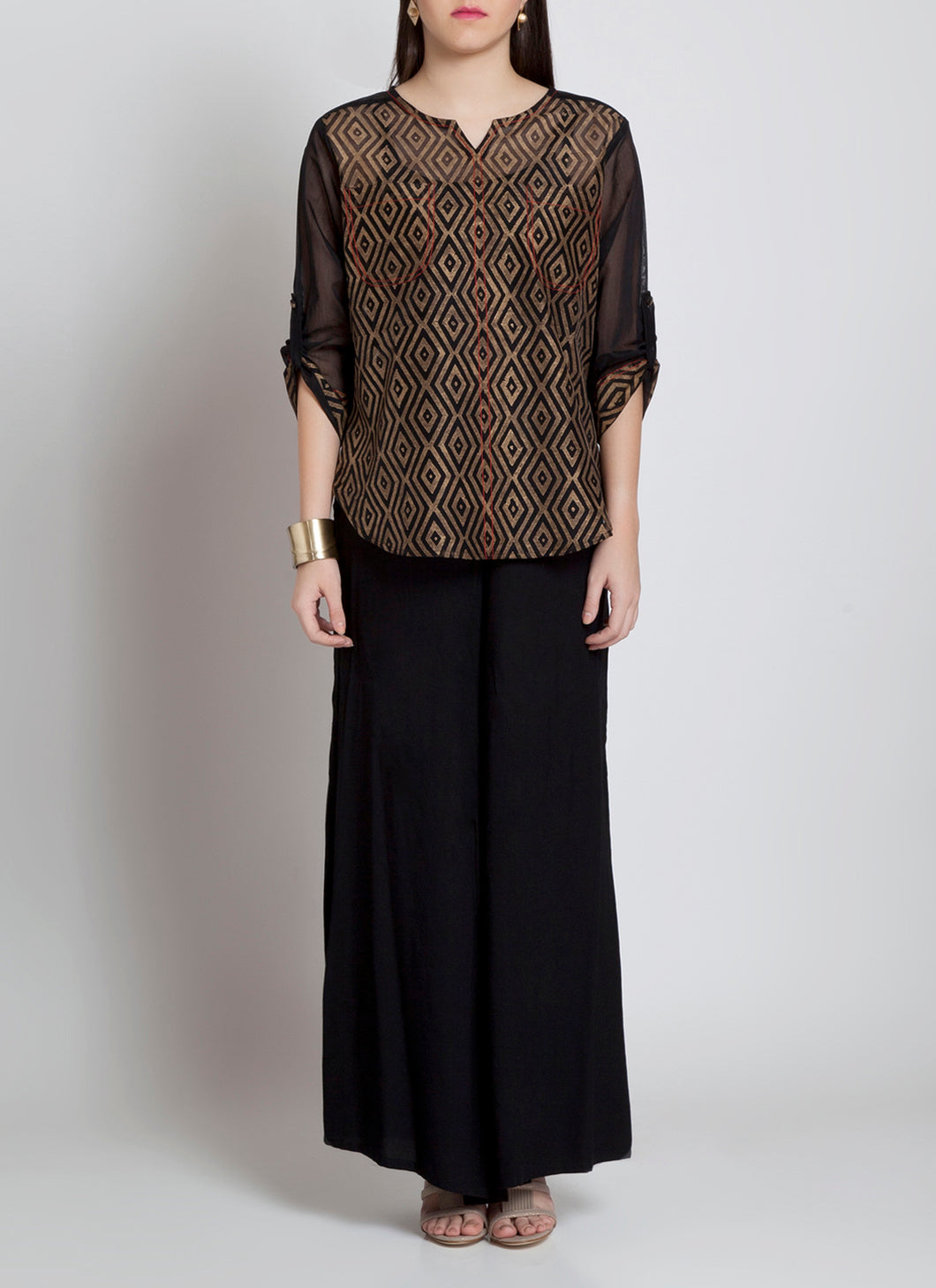 Black and gold block printed chanderi shirt apt for all occasions