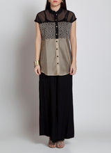 Casual black and beige front open shirt with handmade buttons and short sleeves.