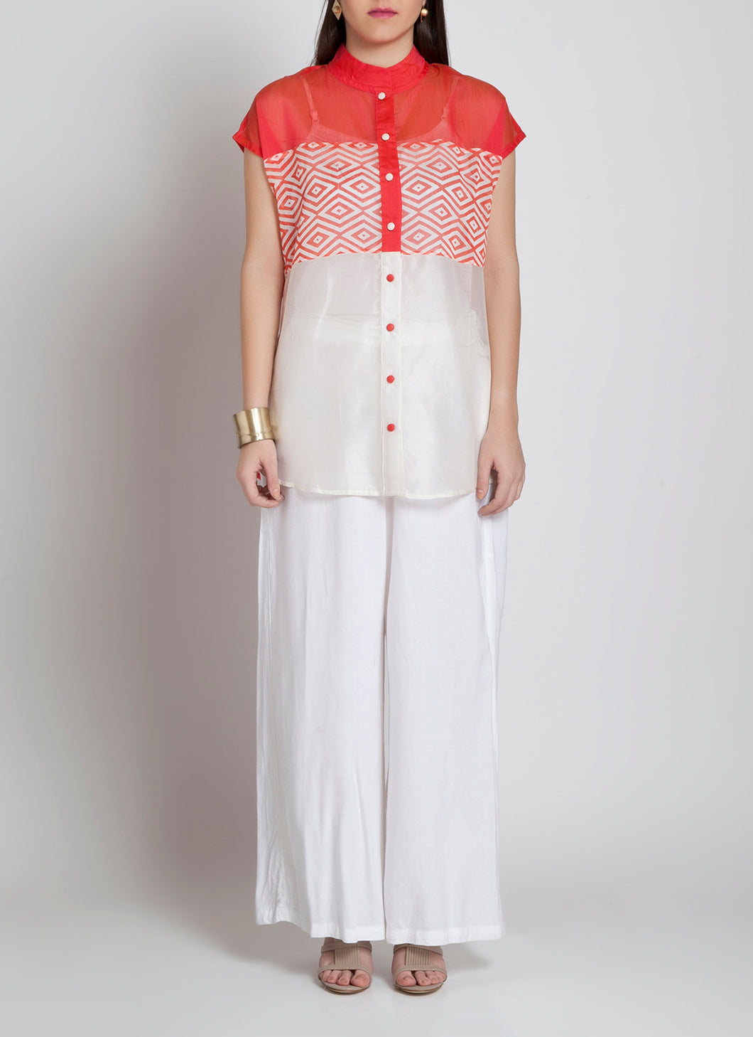 Ivory and Pink handmade front open shirt apt for all occasions.