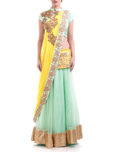 Yellow & Powder Blue Embroidered Lehenga Set