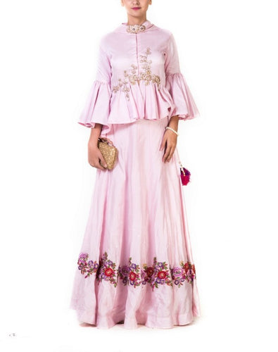 Pastel Pink Hand Embroidered  Peplup Blouse with Lehenga Set with A Dupatta