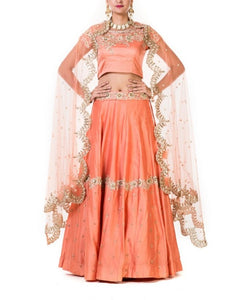 Peach Hand Embroidered Bridal Lehenga With A Heavily Embroidered Scallop Dupatta.
