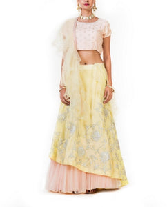 Yellow And Peach Hand Embroidered Double Layer Crp Topp Lehenga Set with Frill Dupatta.
