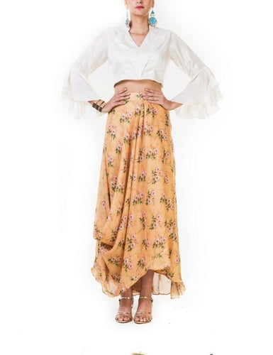 Printed Yellow Draped Skirt & Crop Top with White Bell Sleeves