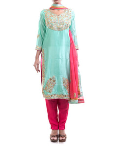 Cyan & Fuchsia Embroidered Suit Set