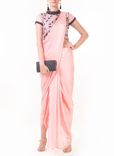 Peach Draped Dhoti with Shaded Palla & Patta work Croptop