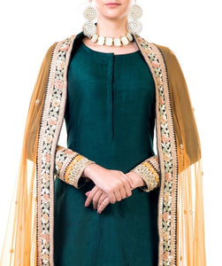 Bottle Green Double Layer Dress With Beige Dupatta