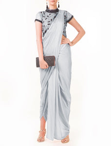 Grey Draped Dhoti with Shaded Palla & Patta work Croptop