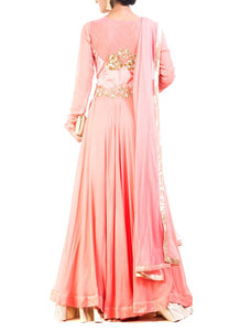 Coral Flared Kurta & Lehenga Set