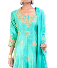 Turquoise Raw Silk  Floral Suit Set