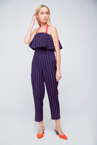 Red Blue Striped Jumpsuit