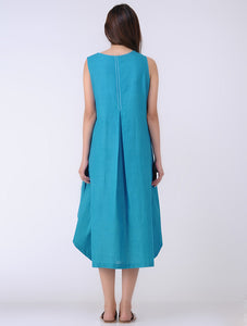 Blue sleeveless front box pleat drape dress with handmade tassels