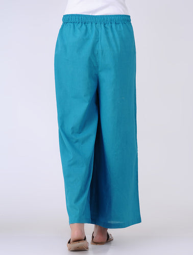 A blue cotton palazzo with drawstring at waist