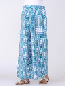 Hand block printed blue cotton palazzo with drawstring