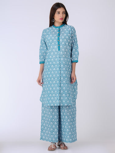 Hand block printed blue cotton palazzo