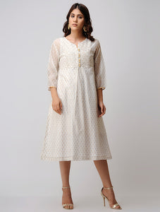 Gold and ivory hand block printed front placke chanderi dress