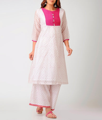 Offwhite and pink handblock printed chanderi dress