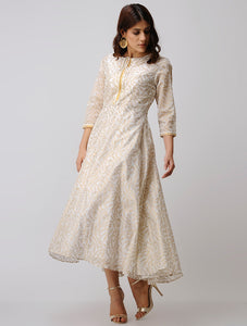 Ivory and old handmade long dress with saperate cambri tunic