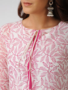 Ivory and Pink hand block printed chanderi long dress
