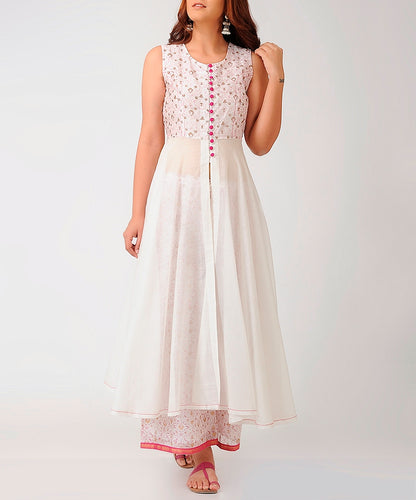 Ivory and pink block print sleeveless front open flared long dress