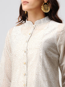 Ivory and gold handmade front open jacket dress in cotton silk.