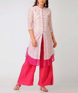 Cotton silk front open Ivory kurta with gold hand block print
