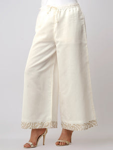 Ivory elastic chanderi palazzo with gold handblock print border
