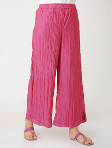 Elastic waist chanderi palazzo in Pink with atached lining.