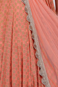 Peach draped Anarkali
