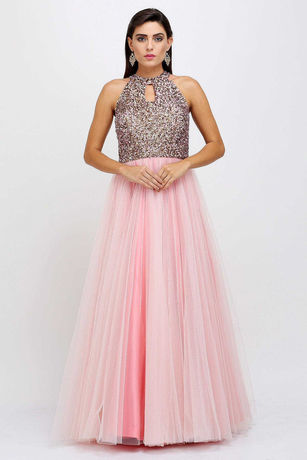 Baby Pink Sequins Gown – Beorgeous