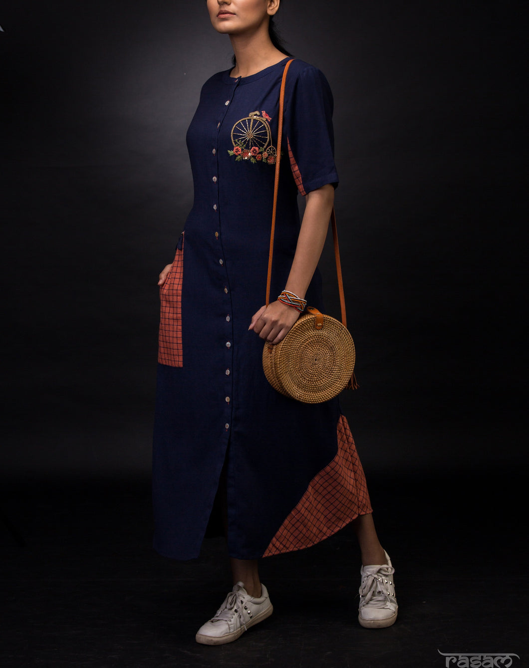 Navy blue and rust patchwork tunic