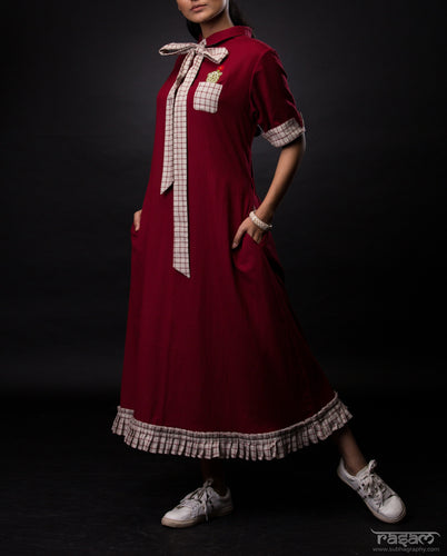 Maroon collared dress with cactus embroidery