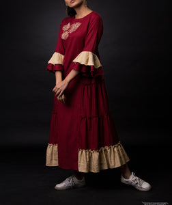 Maroon tier tunic  - hand embroidery