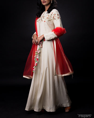 Cream floor-length tunic with hand embroidery