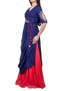 Royal blue drape tunic with red skirt