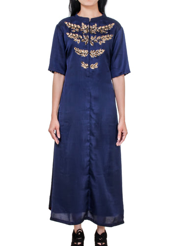 Navy tunic with leaf embroidery