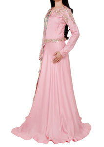 Pink gown with attached dupatta and separate belt