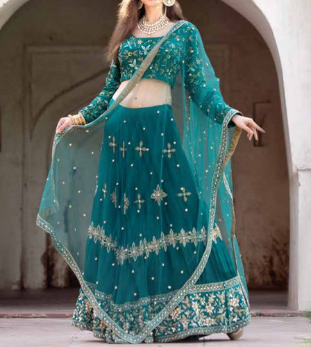 Forest green embroidered Lehenga Set