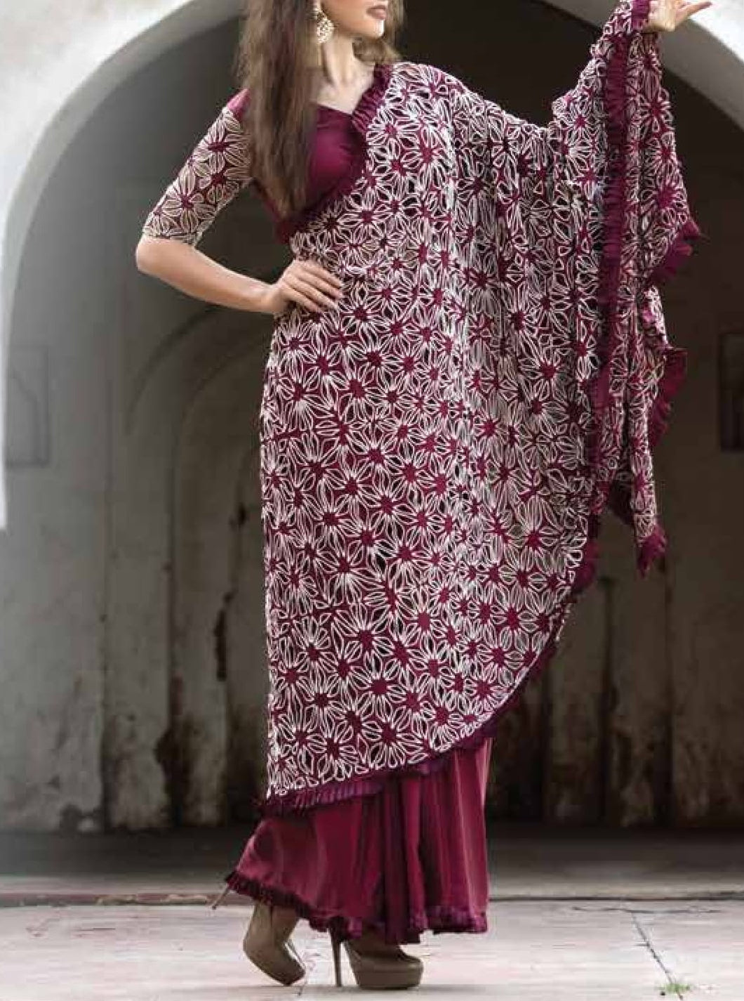 Maroon embroidered Cutwork Saree with embroidered Blouse