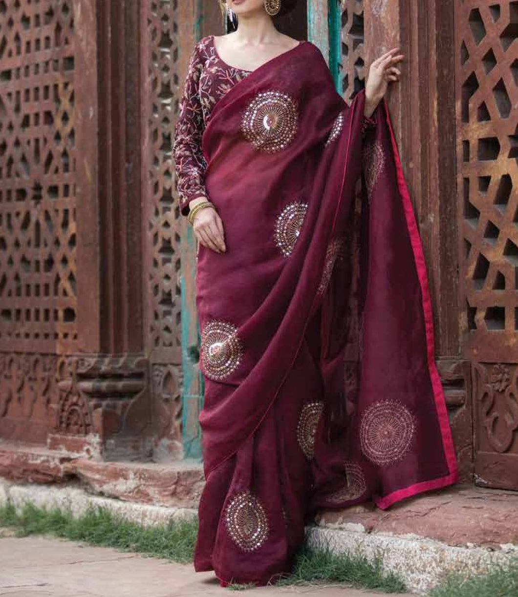 Maroon embroidered Saree with embroidered Blouse