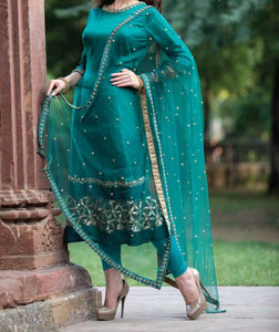 Forest green embroidered Suit with embroidered dupatta and leggings