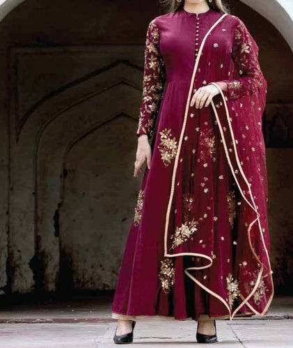 Maroon embroidered suit with embroidered dupatta and palazzo.