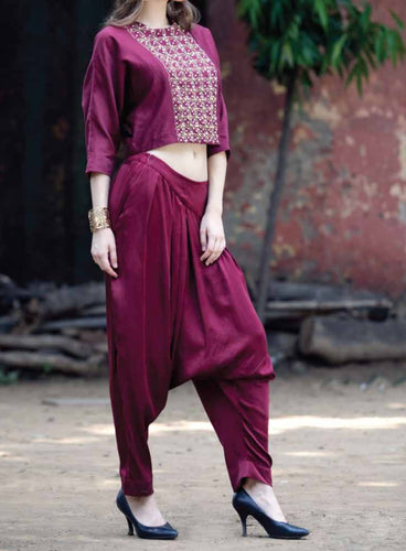 Maroon embroidered top with Harem pants