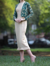 Beige dress with embroidered Jacket