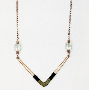 Women's long chain necklace with triangle alloy pendant