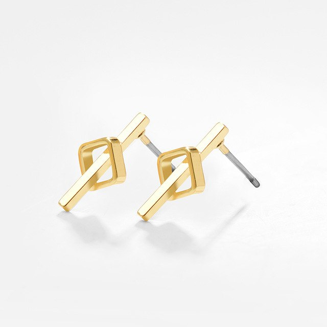 Women's high quality gold and silver small stud earrings