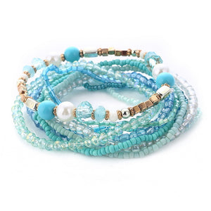 Multi-layer Elastic Weave Bracelets with Beads Charm Wrap