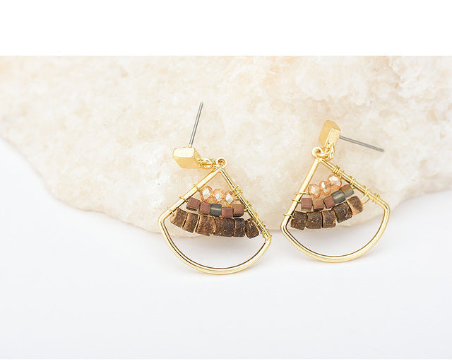 Women's geometric shape natural stone stud earrings