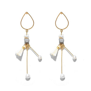 Women's water drop geometric earrings with pearl beads