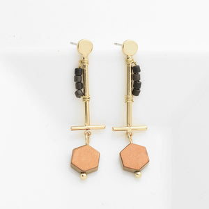Women's Handmade bar earrings with Natural stone Gold Color